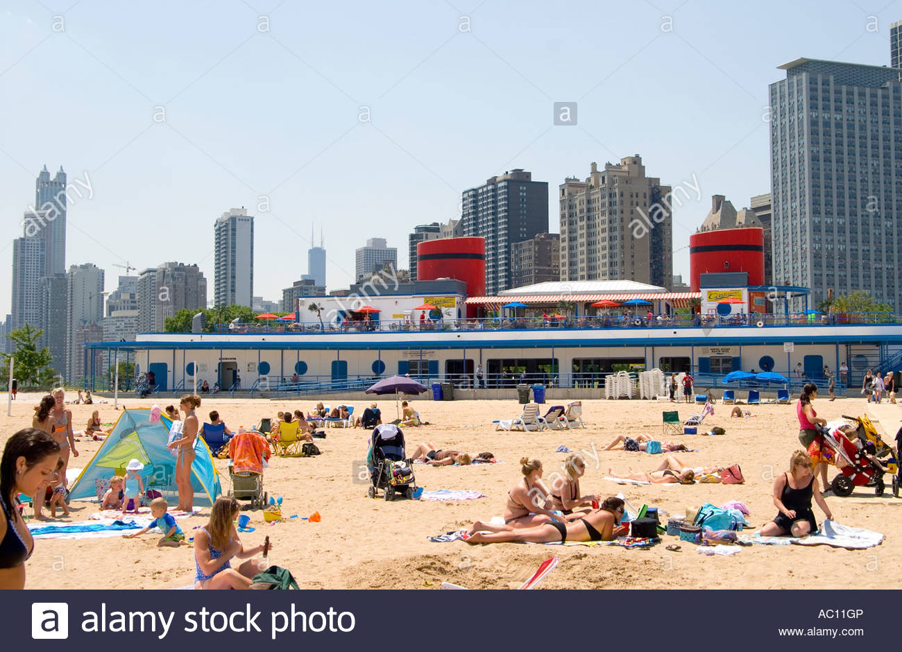 12th Street Beach Chicago, North Avenue Beach in Chicago, Illinois, USA. Designed to look ...