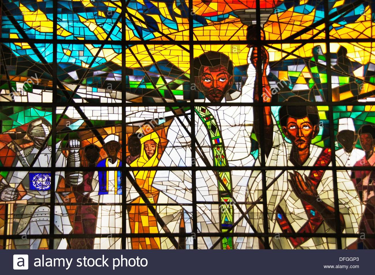 Africa Hall Addis Ababa, Africa Hall at Addis Ababa: detail of the stained glass by Afewerk ...
