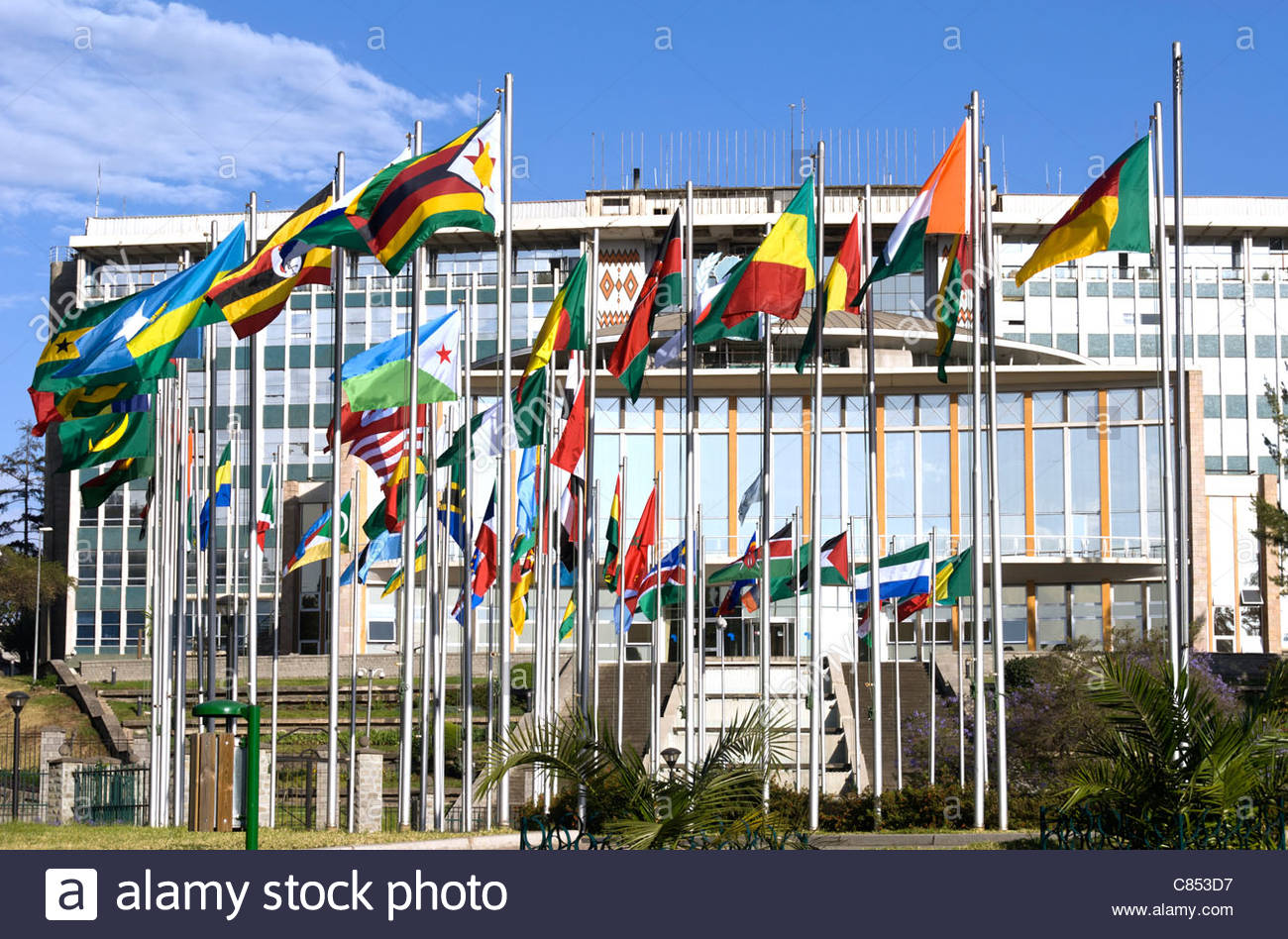 Africa Hall Addis Ababa, Elk200-1039 Ethiopia, Addis Ababa, Africa Hall 1961, with flags of ...