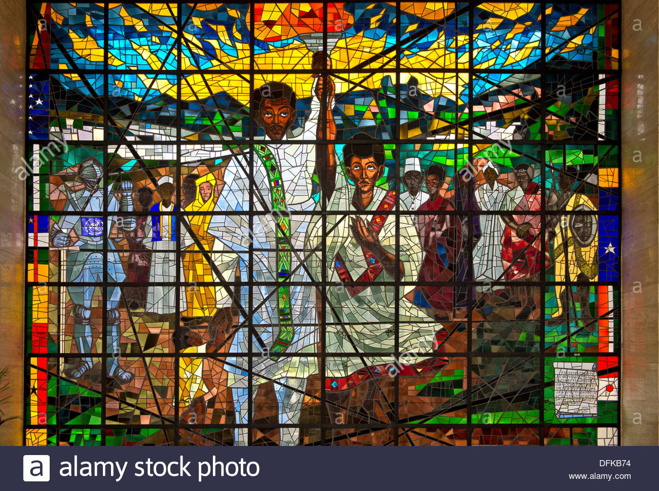 Africa Hall Addis Ababa, Middle part of the stained glass triptych Total Liberation of ...