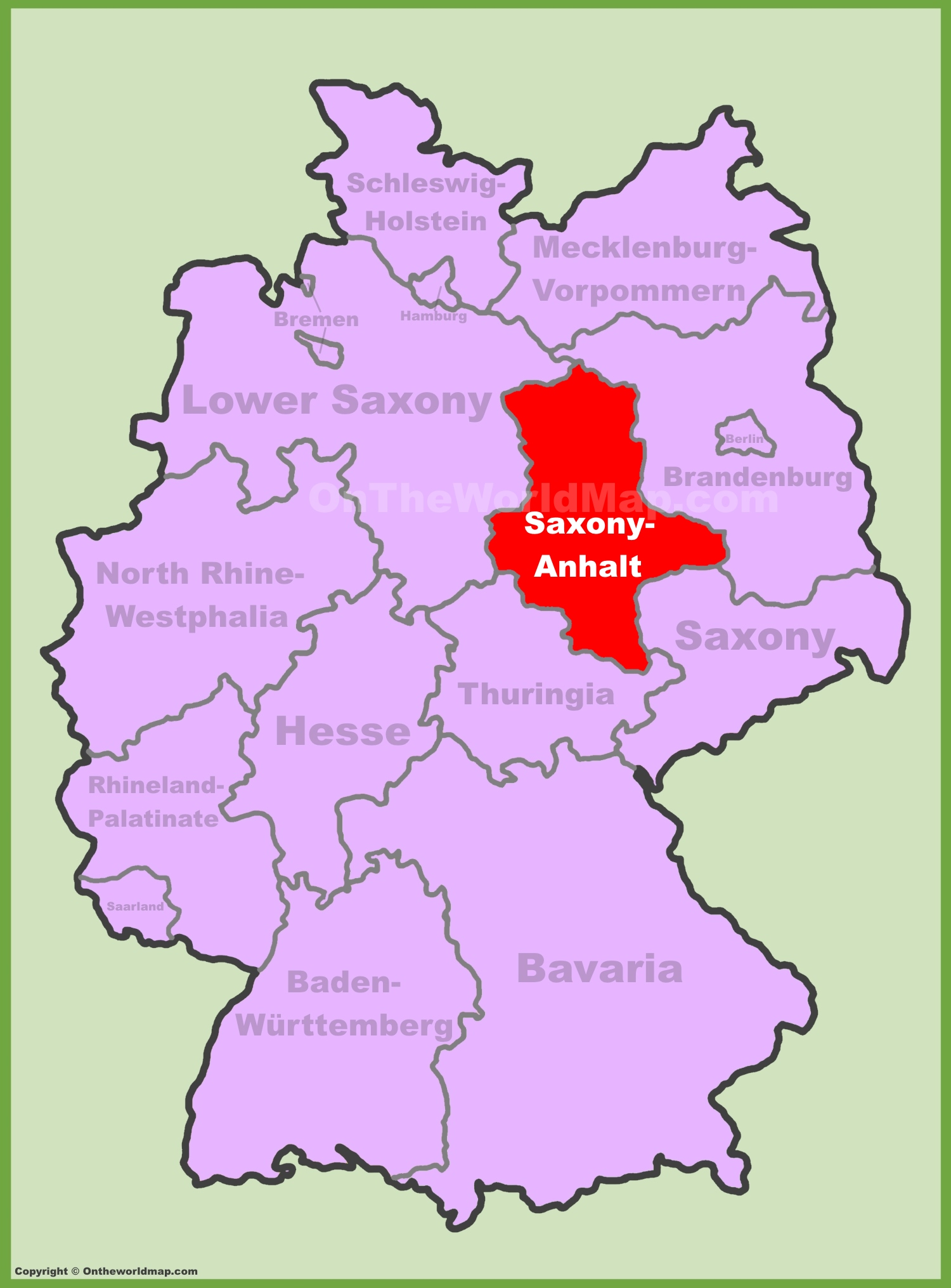Verrätergasse Saxony, Saxony-Anhalt and Thuringia, Saxony-Anhalt location on the Germany map