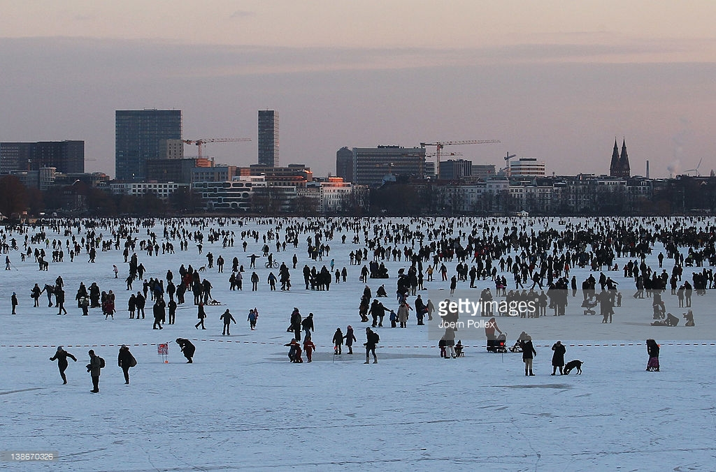 Alster Lakes Hamburg, Frozen Alster River Draws Ice Skating Enthusiasts Photos and ...