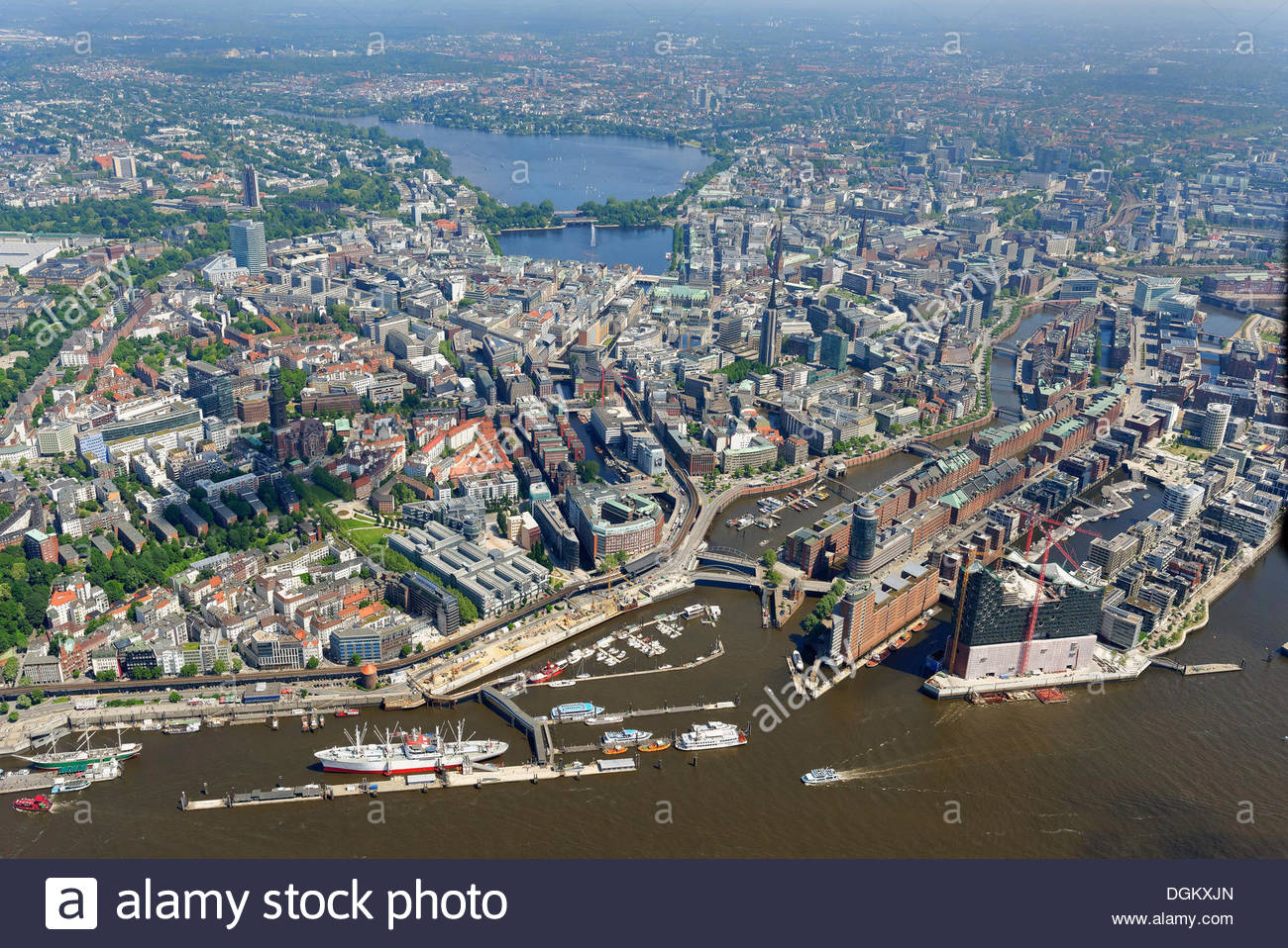 Alster Lakes Hamburg, Aerial view, inner city of Hamburg from the Elbe River to Alster ...