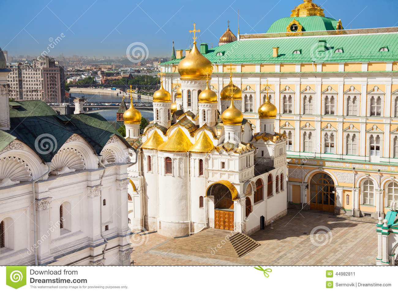 Cathedral Square Moscow, The Top View Of Annunciation Cathedral In Kremlin Stock Photo ...