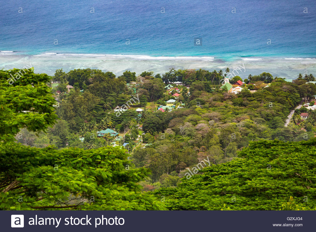 Anse Takamaka West Coast, View from the highest point of La Digue, Nid d'Aigle down to the ...