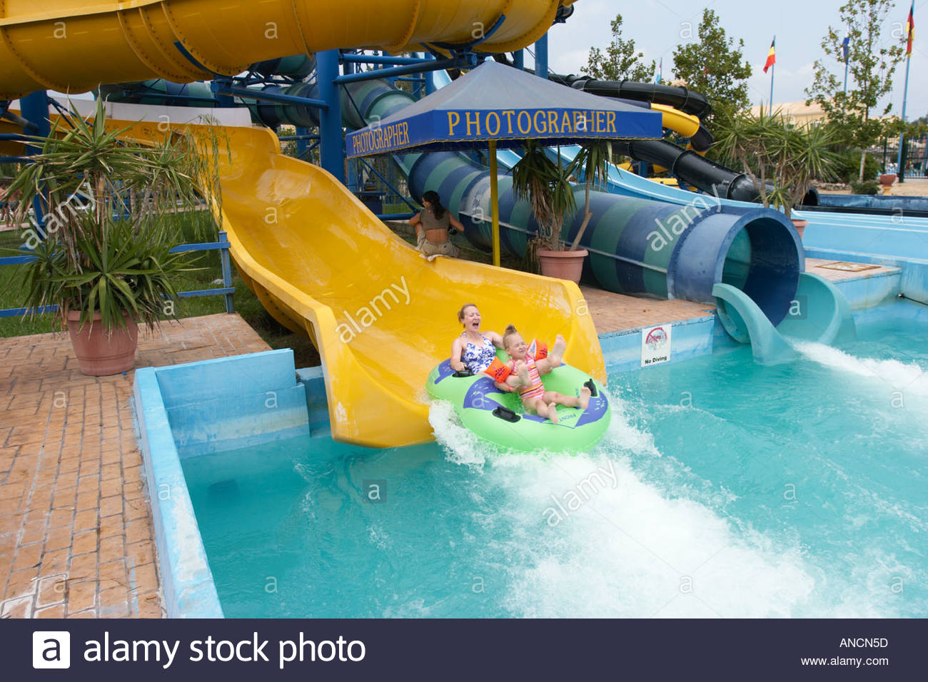 Aqualand Water Park Corfu, Water sliding. Aqualand water park, Corfu , Greece Stock Photo ...
