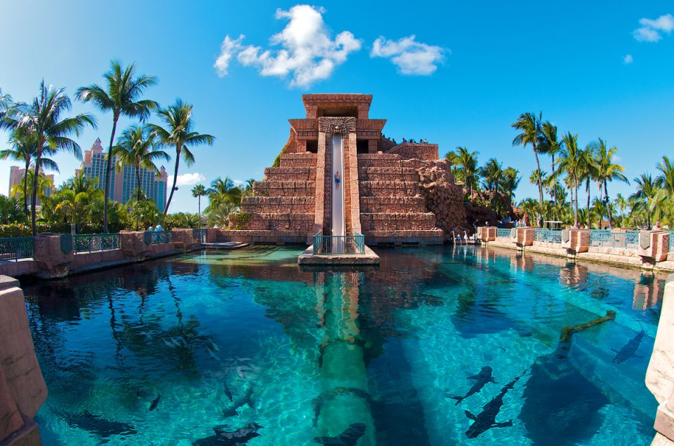 Atlantis Paradise Island New Providence and Paradise Islands, BAHAMAS – Mayan Temple water slide at the Atlantis Paradise Island ...