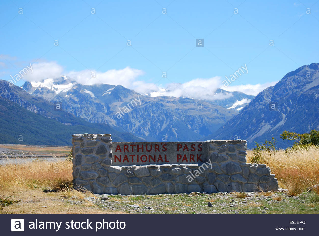 Arthur's Pass National Park Arthur's Pass, Entrance sign, Arthur's Pass National Park, Canterbury, South ...