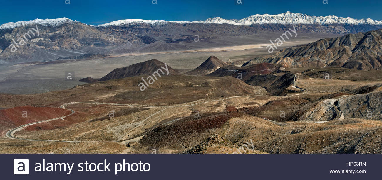 Artist's Palette Death Valley National Park, Panoramic view of Panamint Valley and Panamint Range with ...