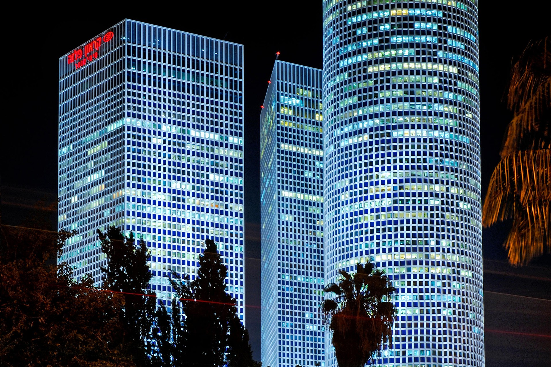 Azrieli Towers Tel Aviv, Azrieli Towers At night, Tel Aviv, Israel