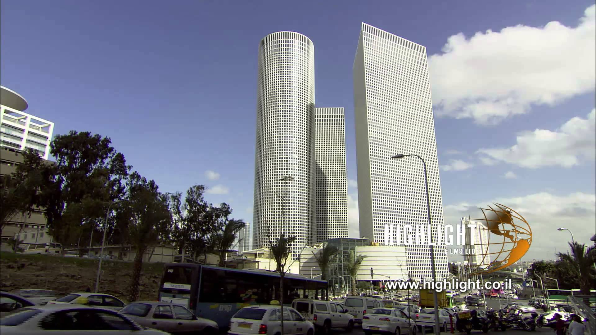 Azrieli Towers Tel Aviv, T 015 Israel Footage library: Tel Aviv footage - Traffic near ...