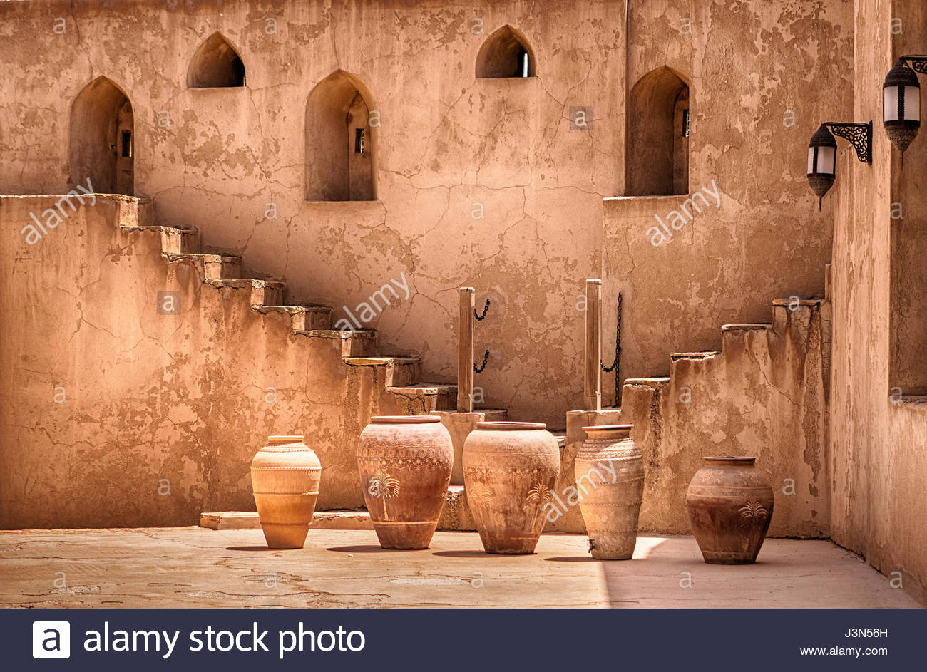Bahla Potteries Bahla & Jabrin, Jabreen Castle Courtyard - Old pottery made in Nizwa and Bahla ...