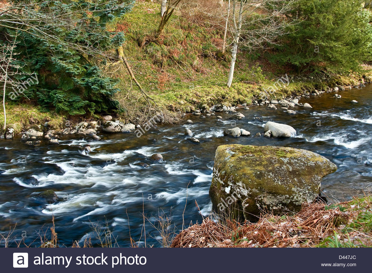 Blue Creek The Deep South, Beautiful deep blue fast flowing waters of the River South Esk ...