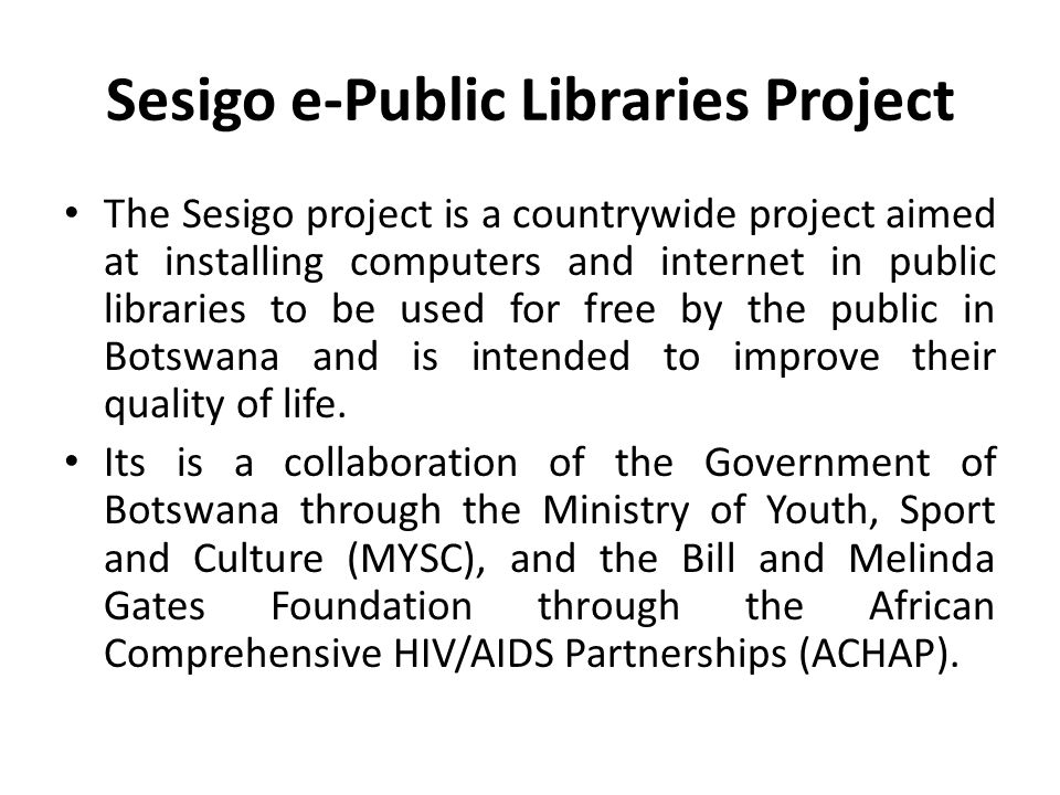 Botswana National Reference Library Gaborone, Permanent Secretary, Ministry of Youth Sport and Culture, Botswana ...