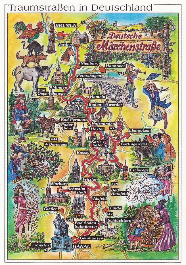 Brüder Grimm Museum The Fairy-Tale Road, This illustrated map shows the German Fairy Tale Route. It is a ...