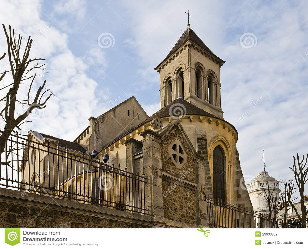 Brasserie BapBap Paris, Church Of St. Peter Of Montmartre (XVII C.), Paris Stock Image ...