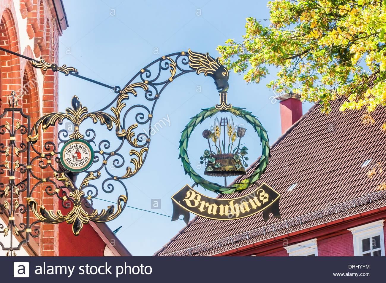 Brauerei Museum The Black Forest, signpost with the inscription brauhaus, restaurant at the Stock ...