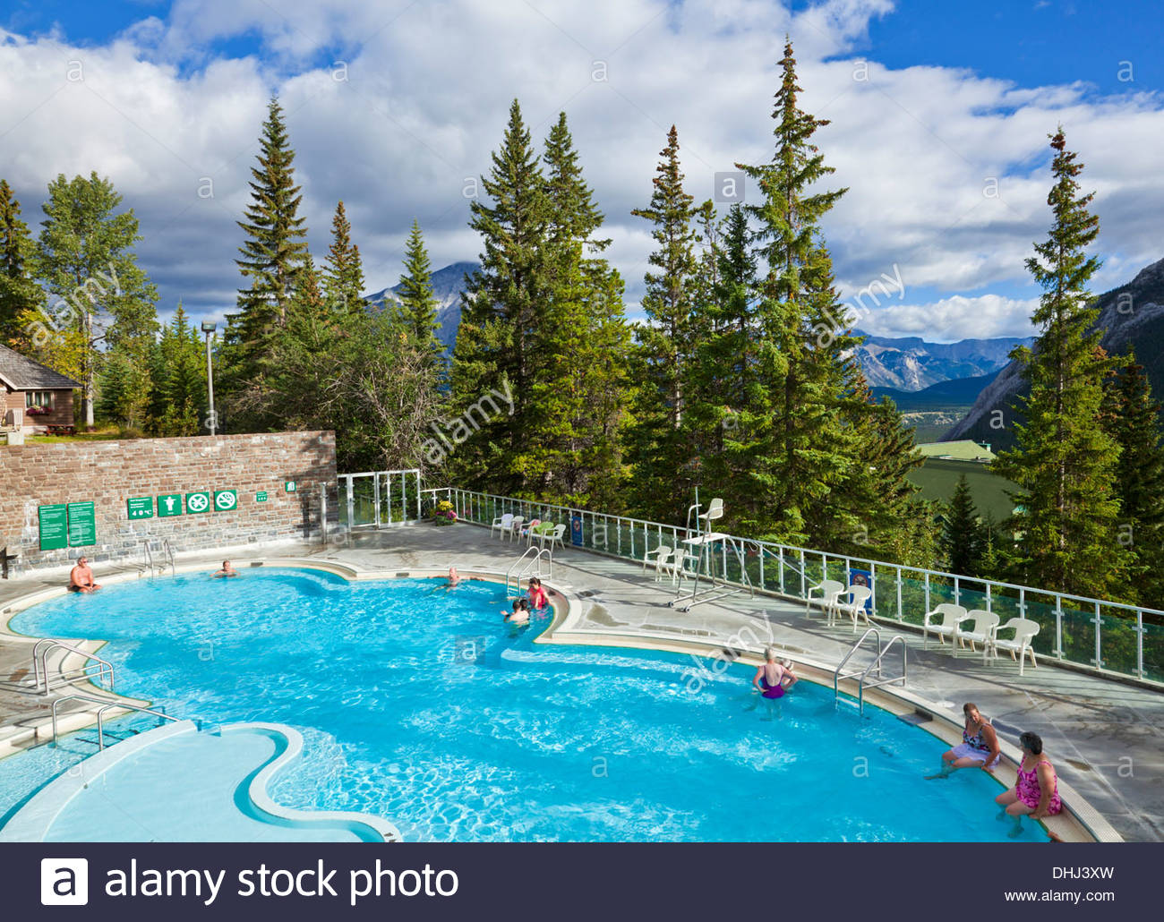 Brewster Attractions Banff National Park, People in the hot water at the Upper Hot Springs Pool Banff ...