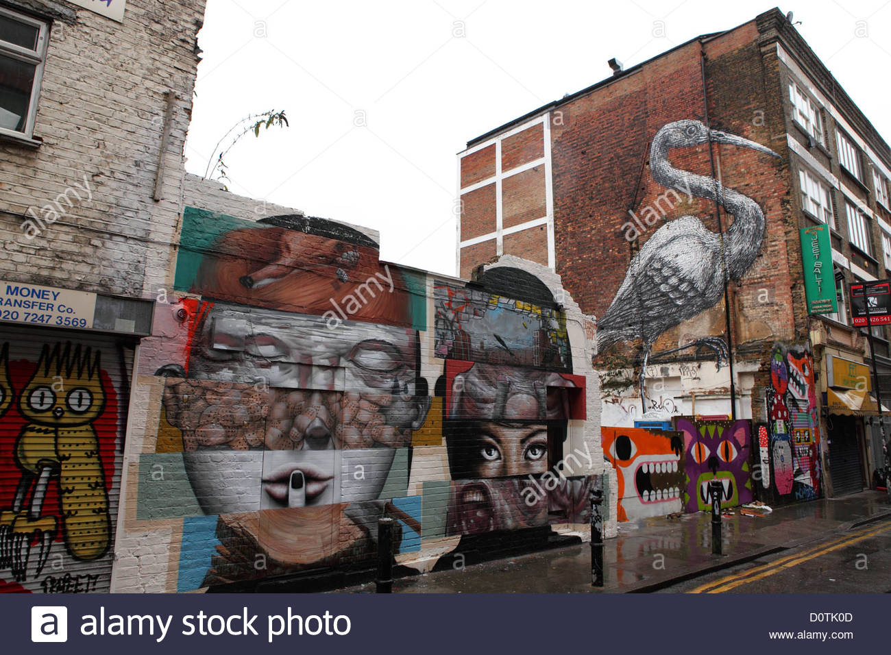 Brick Lane London, Graffiti and urban art off Brick Lane, London, England. The area ...