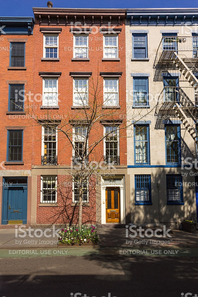 Brooklyn Academy of Music (BAM) New York City, West Village Red Brick Townhouses New York City stock photo ...