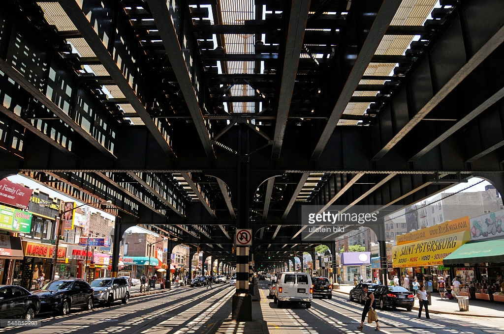 Brooklyn Art Library New York City, USA New York New York City - Overhead railway of the subway over ...