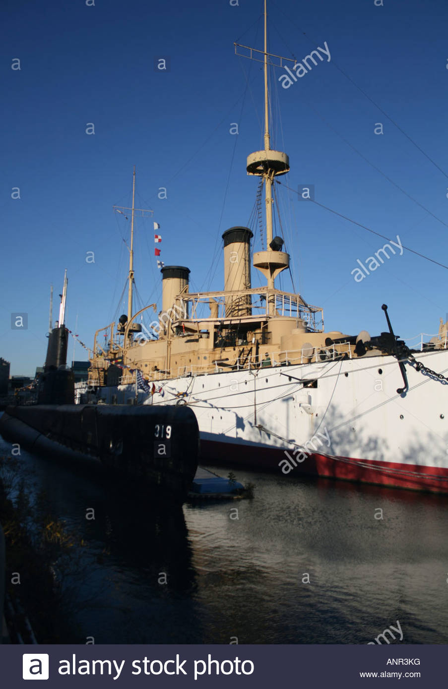 Bryn Mawr College Philadelphia, USS Becuna and USS Olympia at Independence Seaport Museum Stock ...