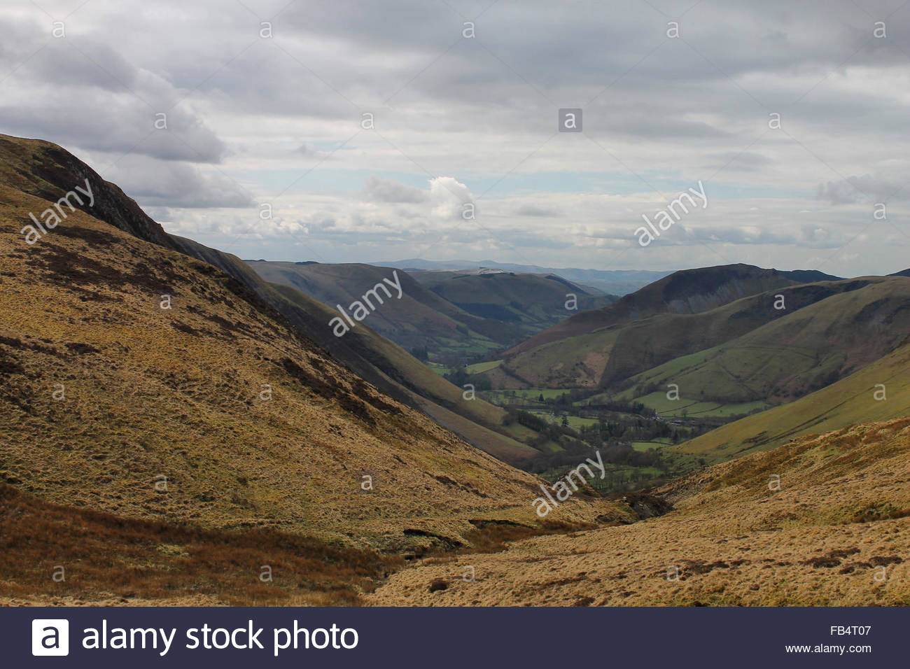 Bwlch y Groes North Wales, Views of valley from mountain road leading from Bwlch Y Groes to ...
