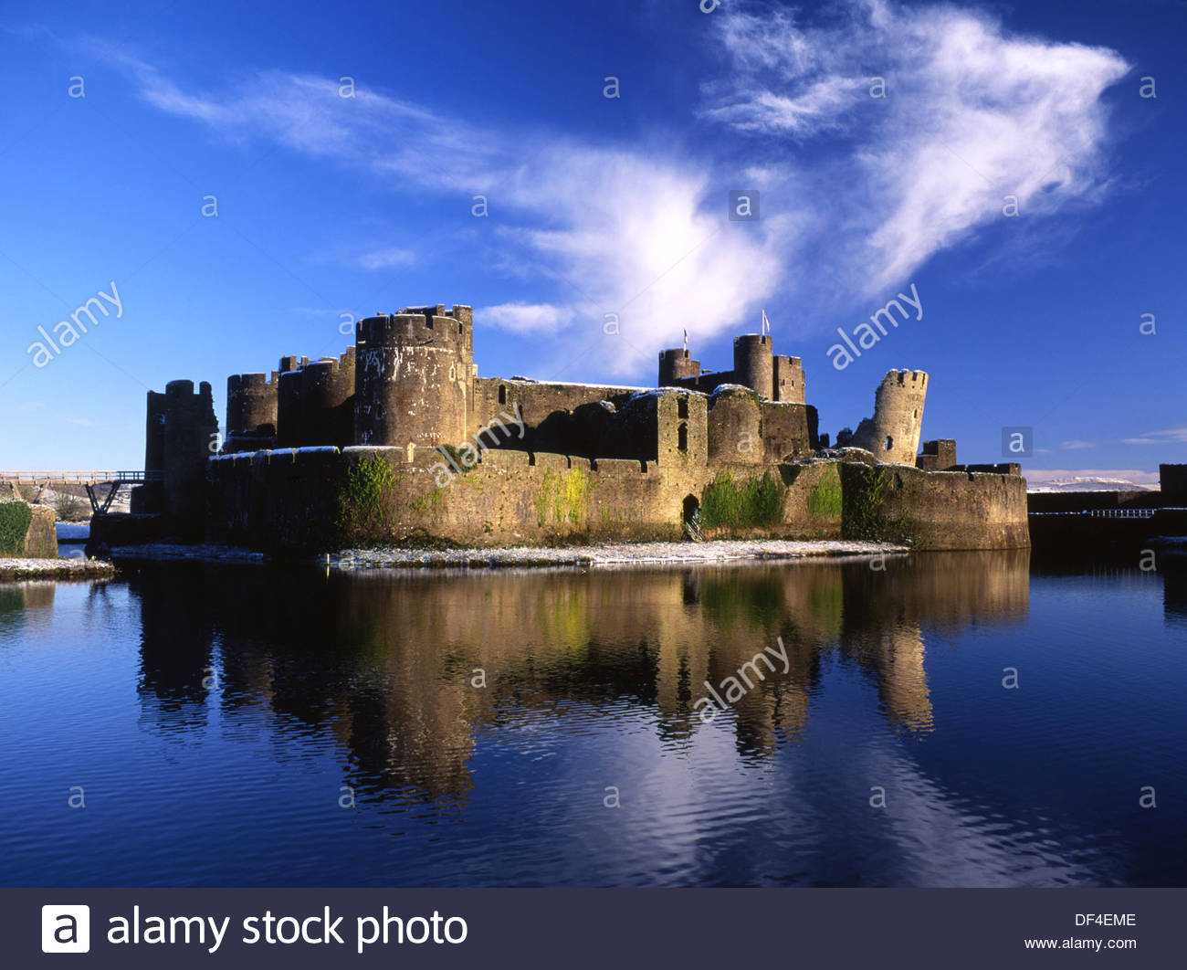 Caerphilly Castle South Wales, Caerphilly Castle in winter with snow Caerphilly South Wales UK ...