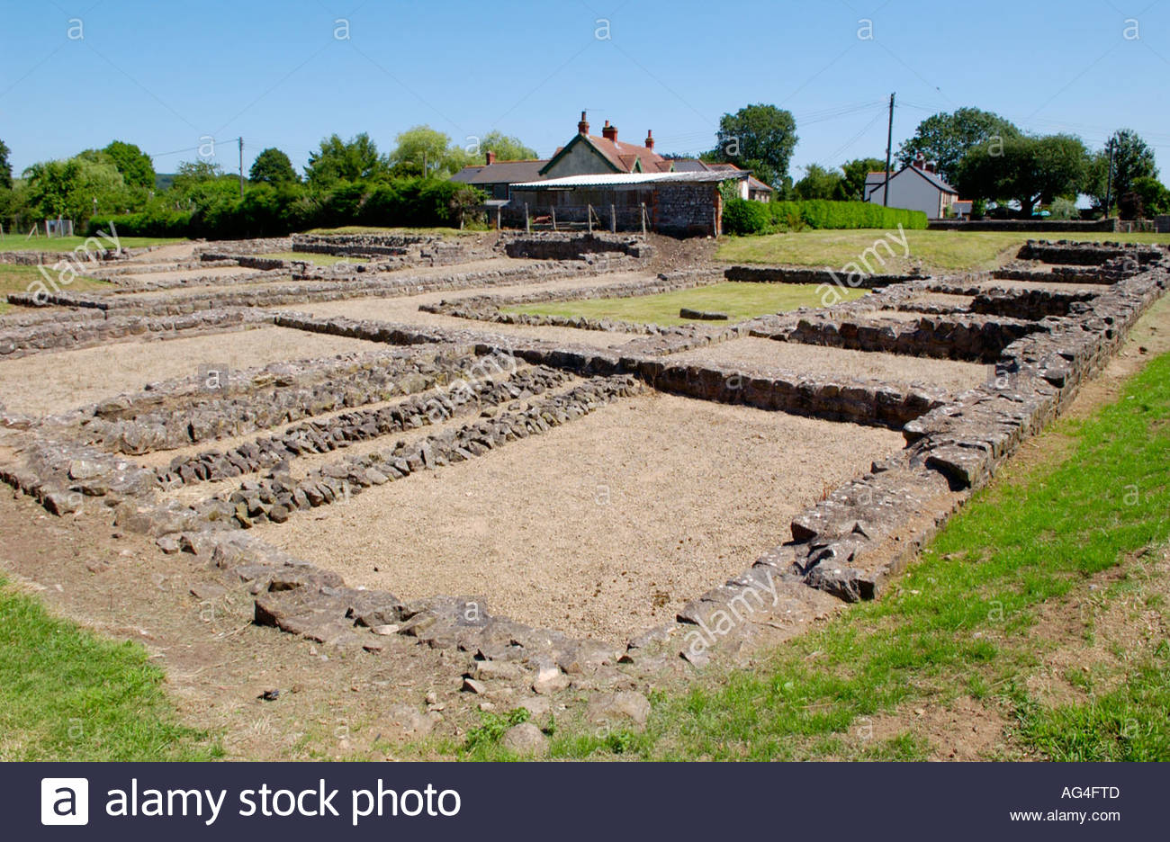 Caerwent Roman Town South Wales, Remaining foundations of 4th century AD Courtyard House at ...