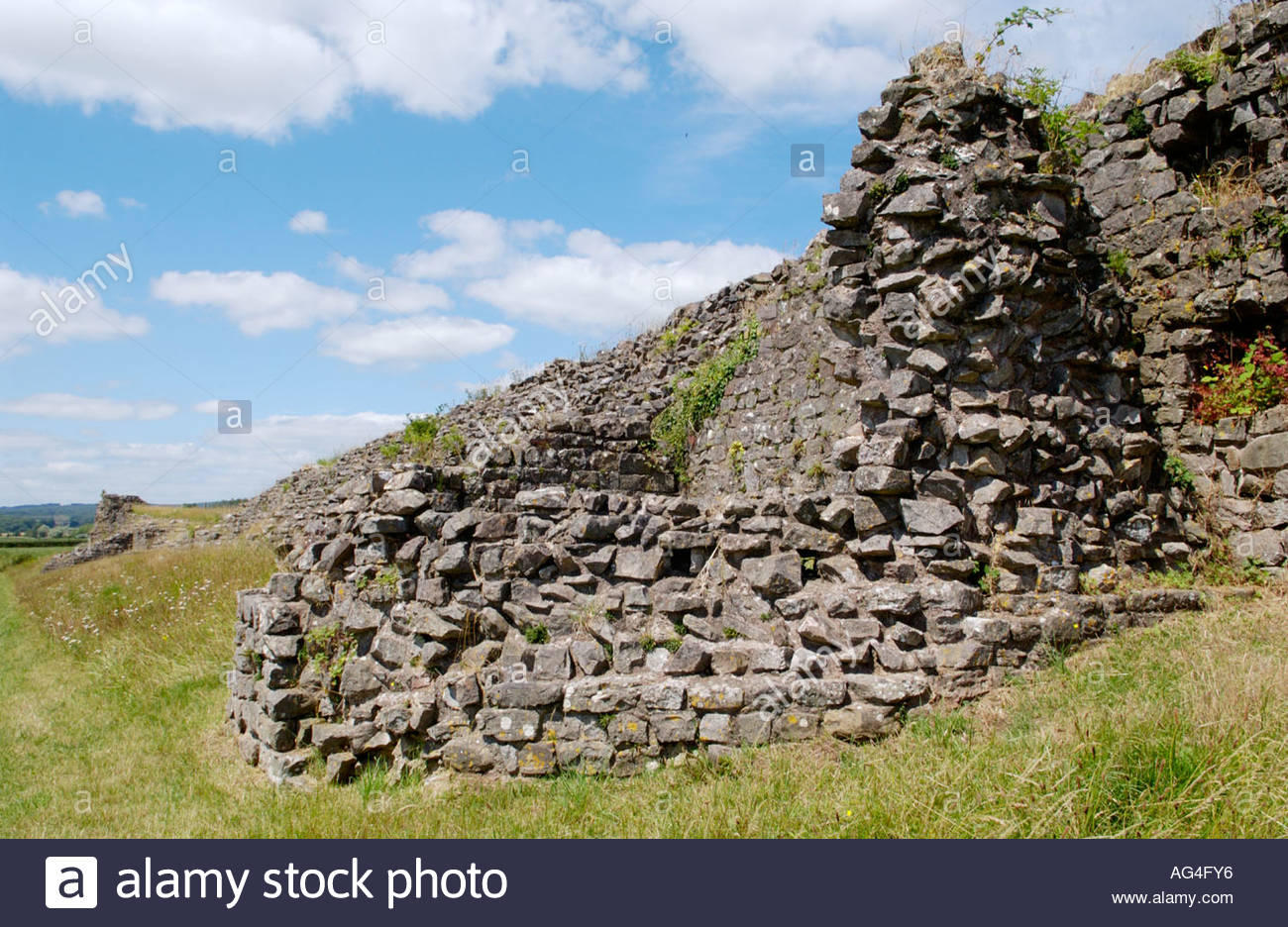 Caerwent Roman Town South Wales, South Wall dating from 4th century AD at Caerwent Roman town Stock ...