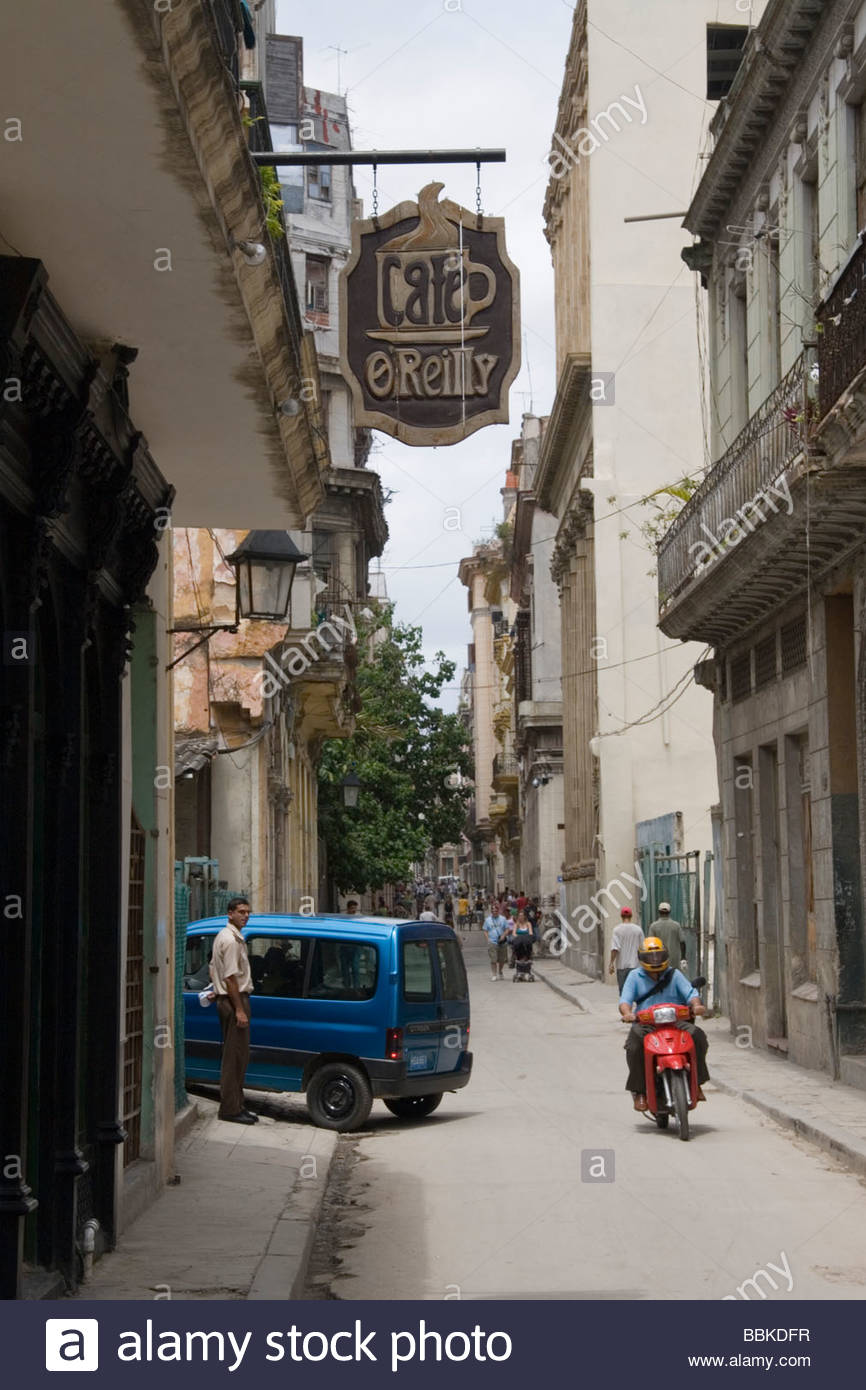 Cafe O'Reilly Havana, Cafe O'Reilly sign on side street Havana Cuba Stock Photo, Royalty ...