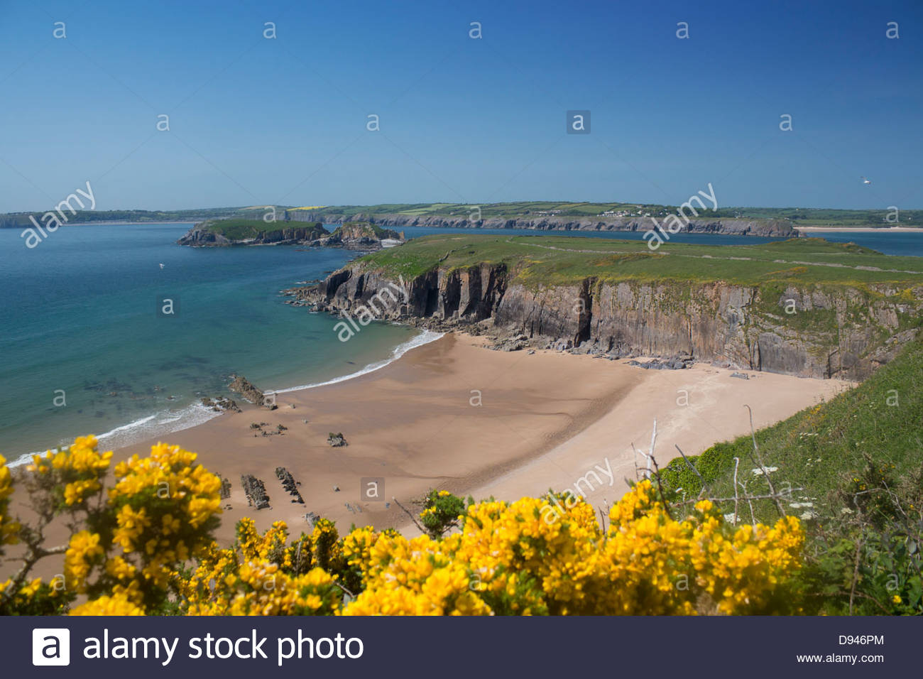 Caldey Island South Wales, Sandtop Bay beach on Caldey Island (off Tenby) in spring with ...