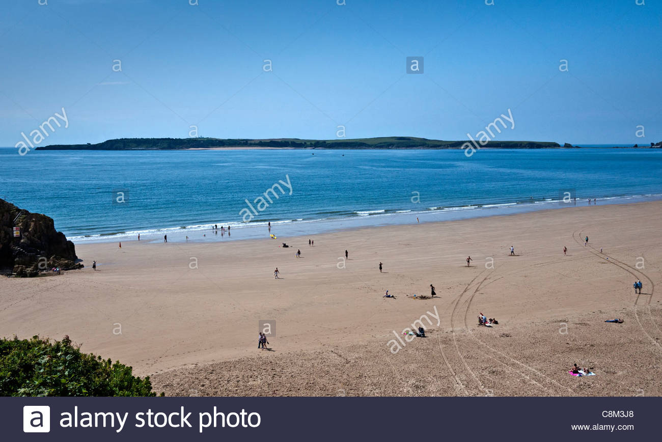 Caldey Island South Wales, Caldey Island from Tenby South Beach, South Wales, UK Stock Photo ...