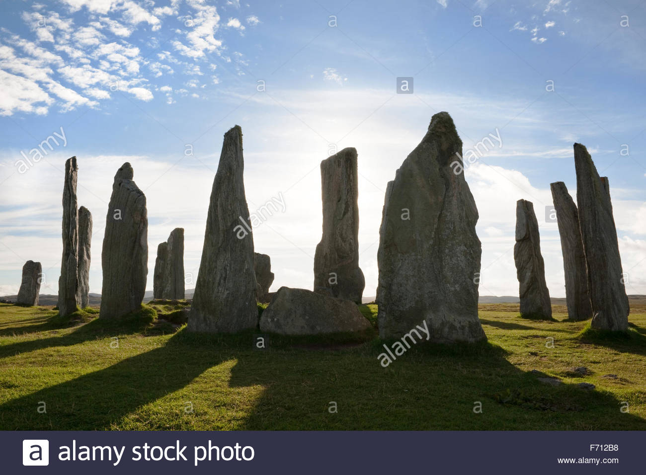 Callanish Standing Stones Callanish (Calanais), Looking west at the centre of the Callanish (Calanais) Standing ...