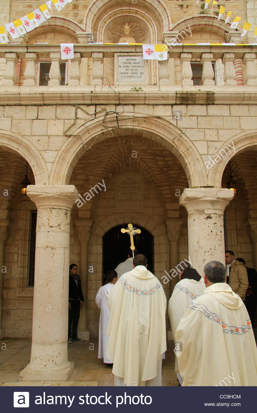 Cana Wedding Church Lower Galilee, Israel, Lower Galilee, the feast of the Miracle of the Wine at the ...