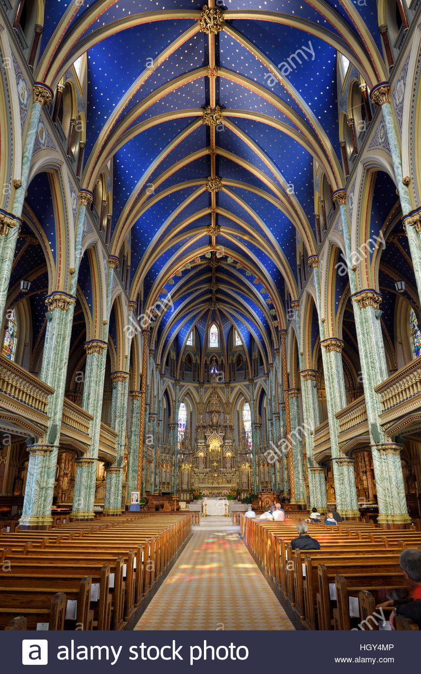 Canada Science & Technology Museum Ottawa, Interior nave of Notre Dame Roman Catholic Cathedral Basilica in ...