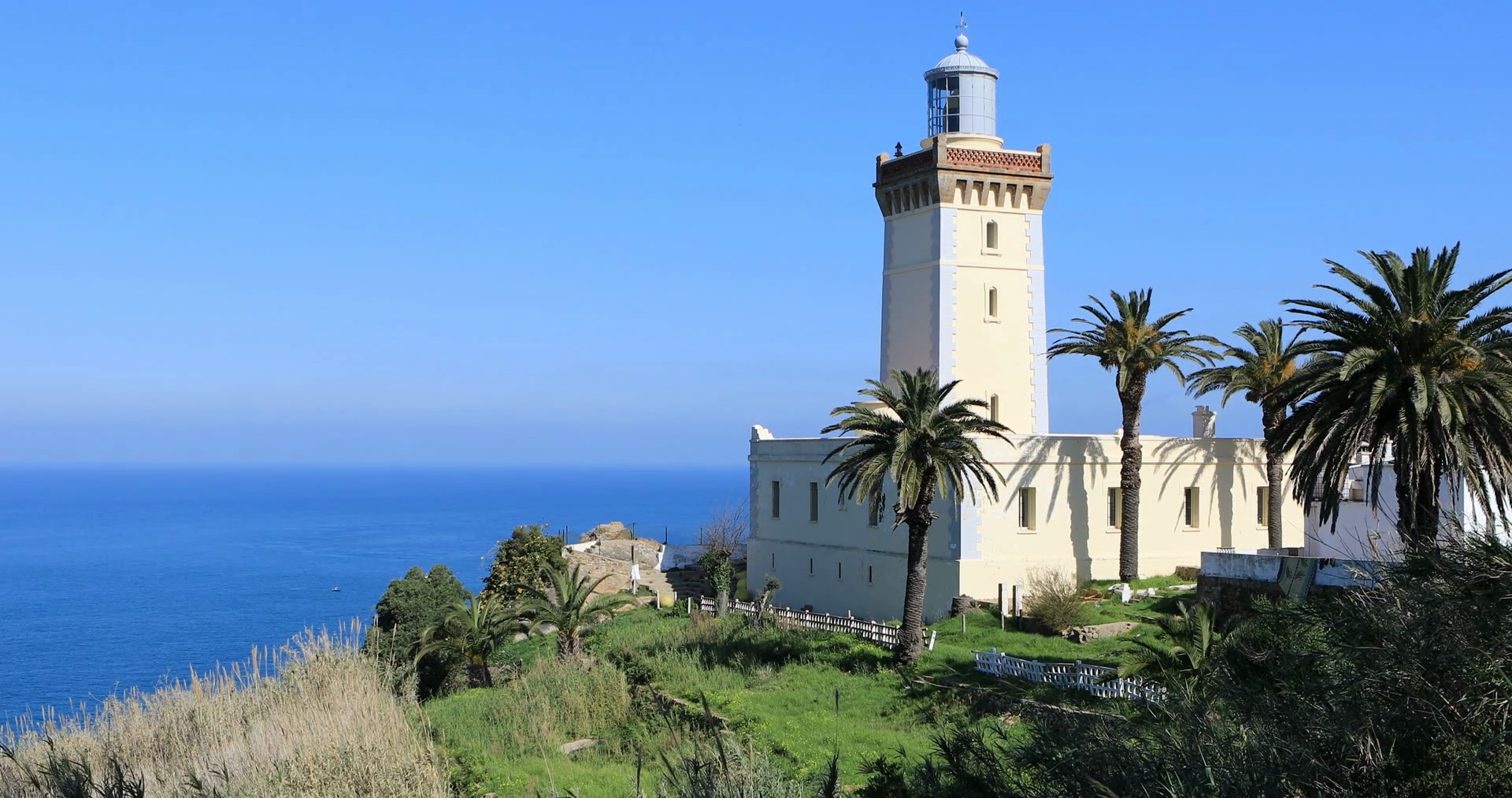 Cap Spartel Lighthouse Tangier and the Mediterranean, 4K UltraHD The Phare Cap Spartel Lighthouse near Tangier, Morocco ...