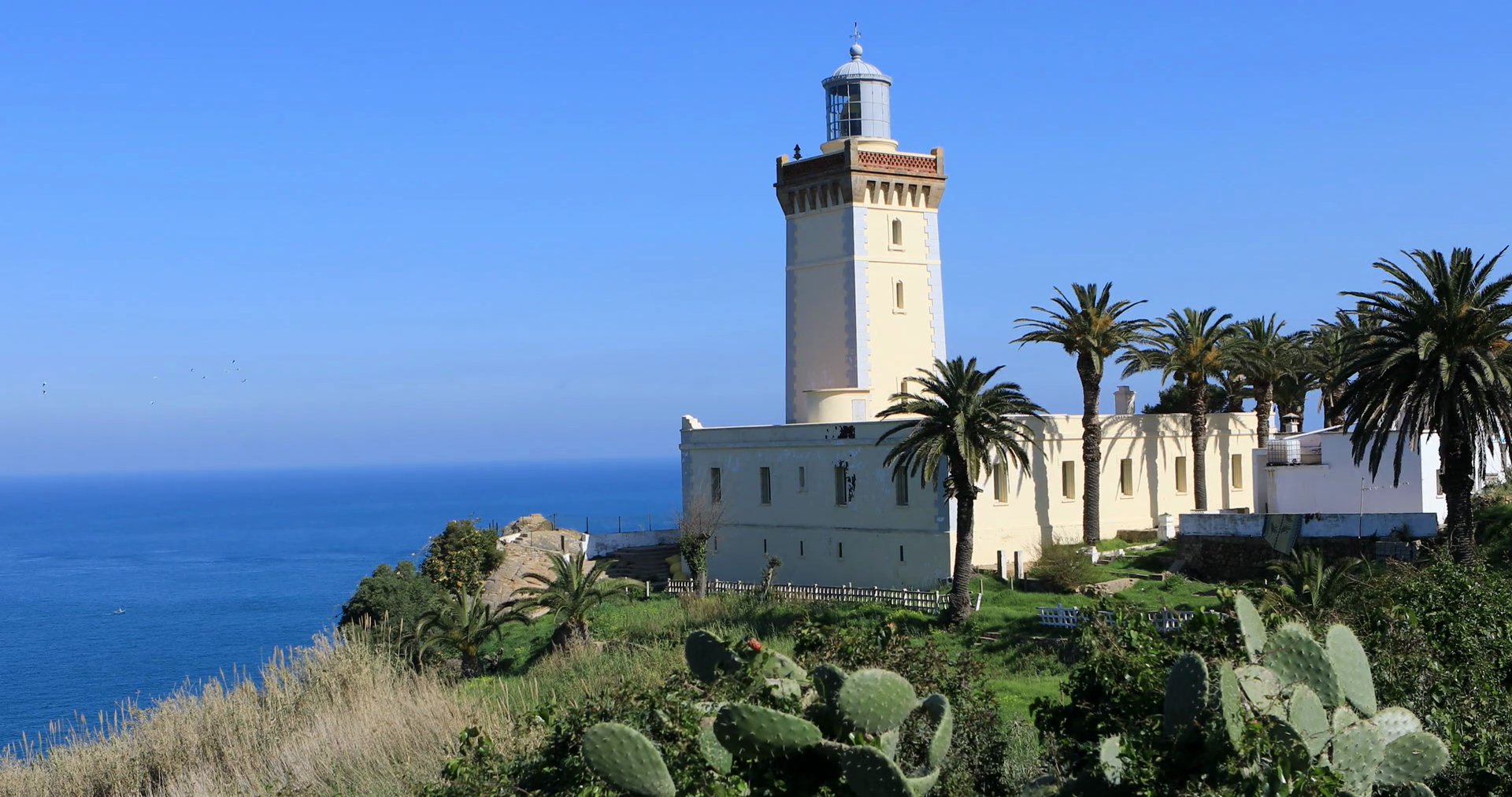 Cap Spartel Lighthouse Tangier and the Mediterranean, 4K UltraHD The Phare Cap Spartel Lighthouse near Tangier in ...