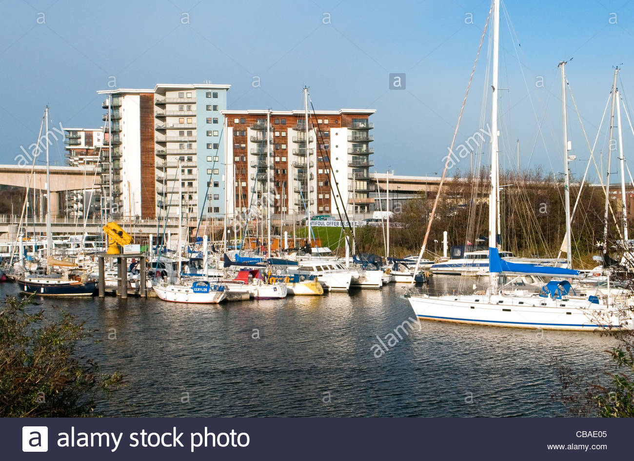 Cardiff Bay South Wales, Cardiff Marina, on the River Ely near Cardiff Bay south Wales UK ...