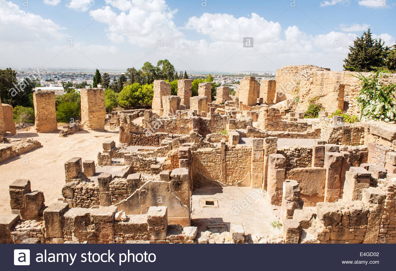 Carthage Tunis, Ruins of the ancient city of Carthage destroyed by the Romans is ...