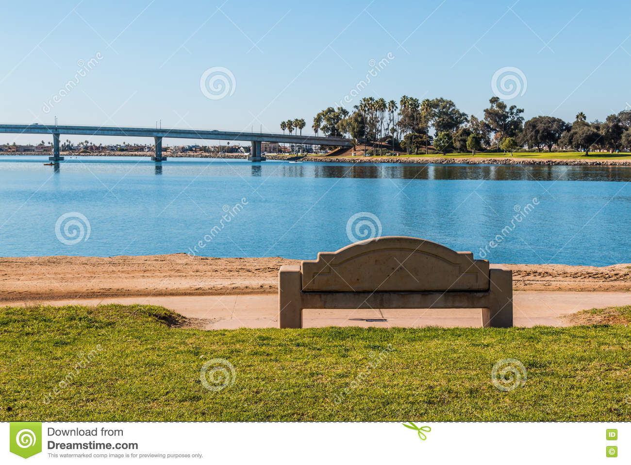 Casa de Balboa San Diego, Cement Bench On Mission Bay In San Diego Stock Photo - Image: 81877118