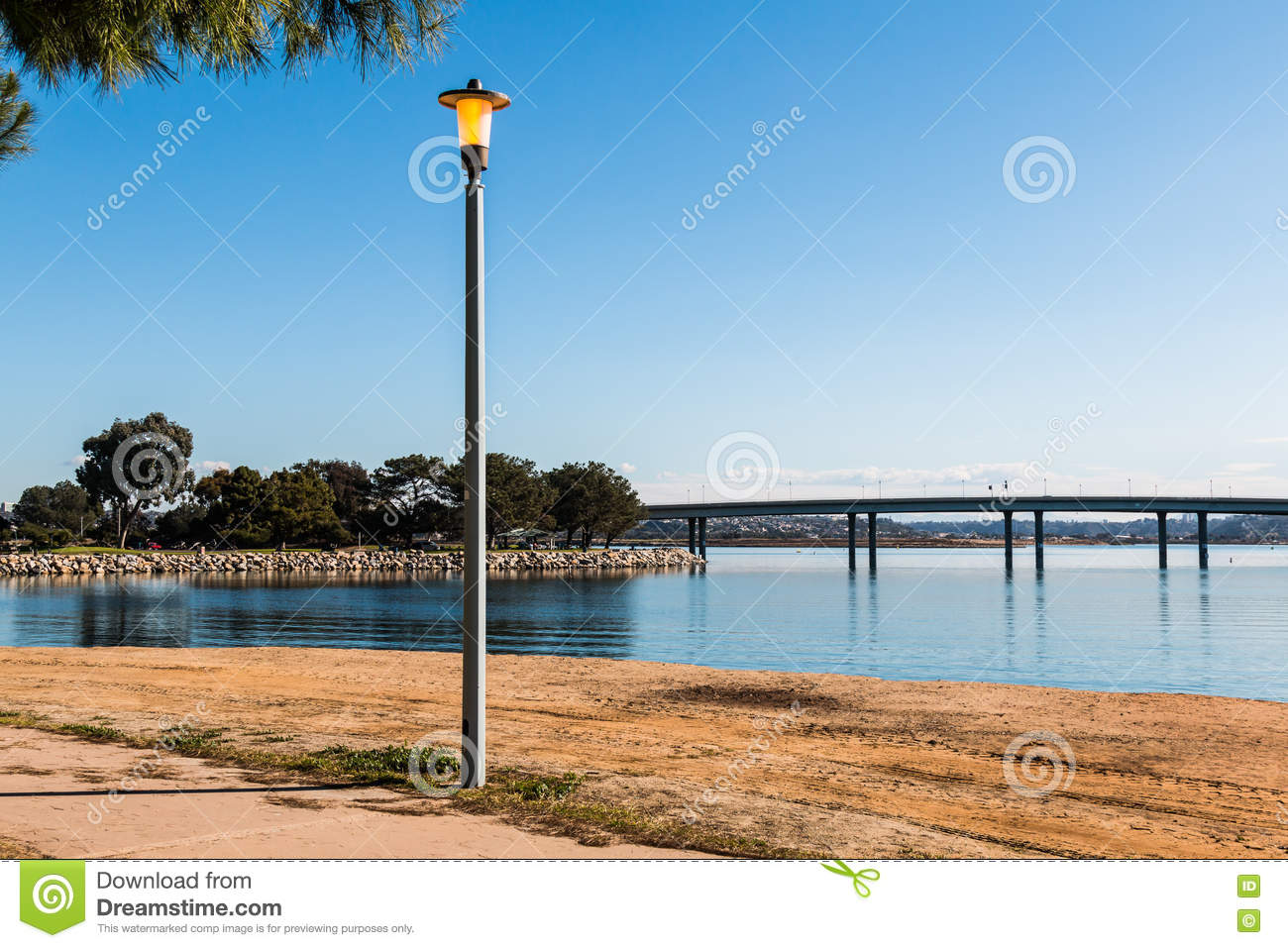 Casa de Balboa San Diego, Lamppost At Vacation Isle Park In San Diego With Bridge Stock ...
