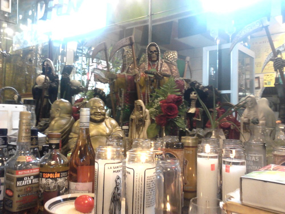 Casa Lamm Cultural Center Mexico City, A public Santa muerte altar at a Mexican grocery store in Chicago ...