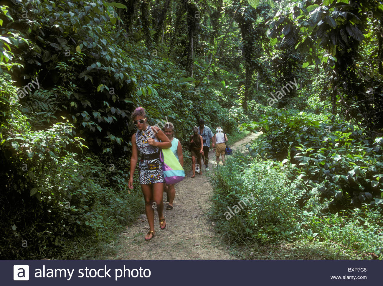 Parc National de la Guadeloupe Basse-Terre Island, French people, people, tourists, hikers, hiking trail, La Cascade ...