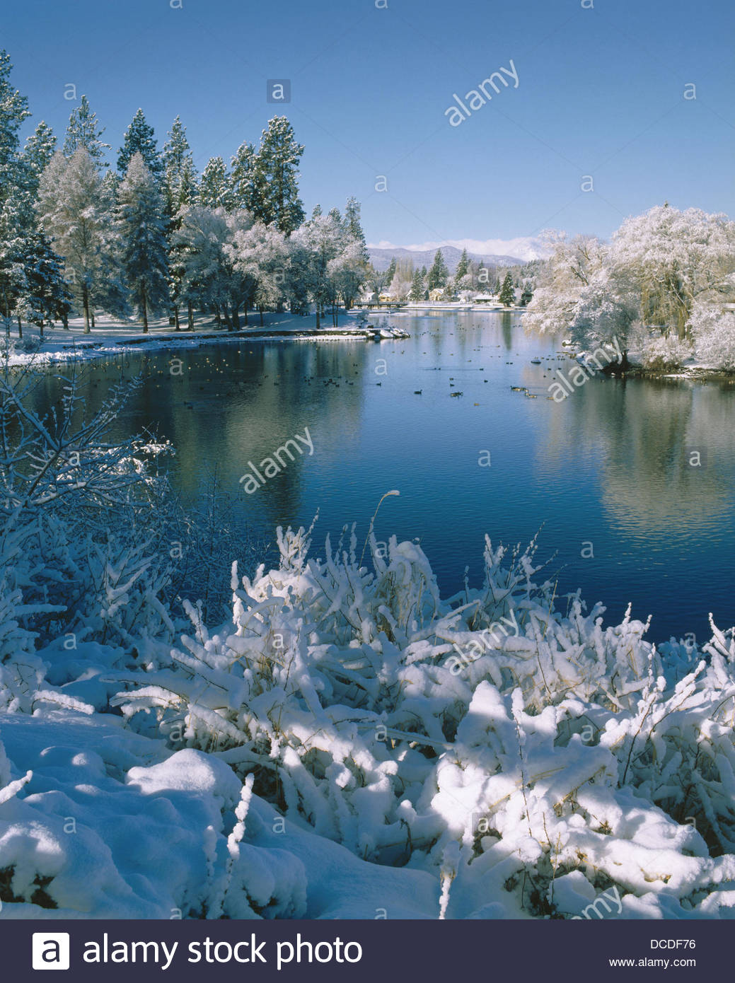 Cascade Lakes Scenic Byway Central Oregon, Drake Park along mirror pond draped in fresh winter snow. Bend ...