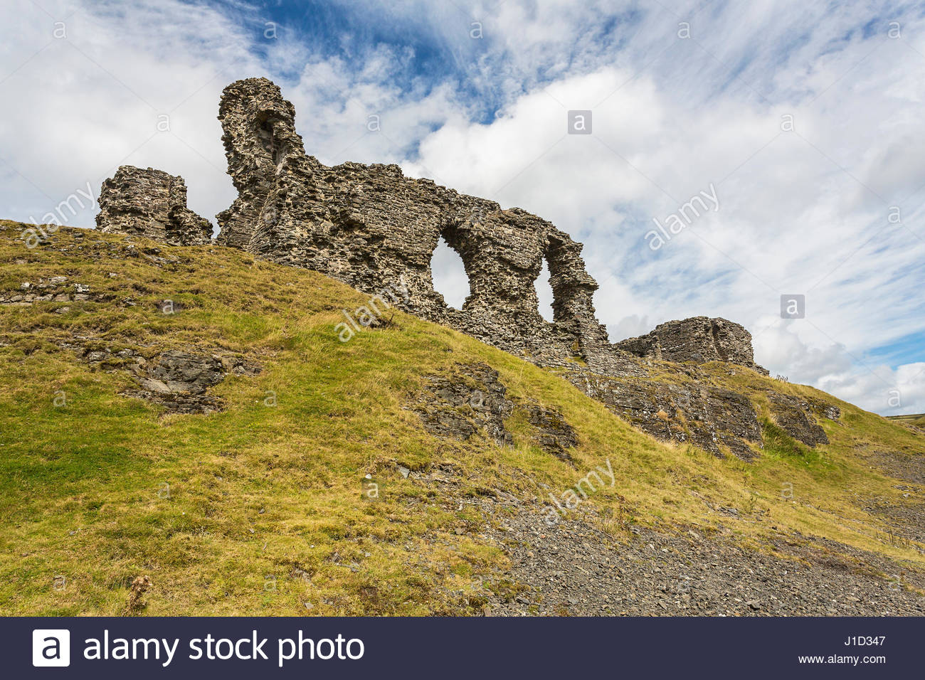 Castell Dinas Brân North Wales, Castell Dinas Bran showing ruined walls on the south side near ...