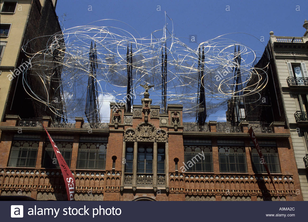 Catedral de la Seu Barcelona, facade wire sculpture Tapies foundation Casa Montaner i Simo Stock ...