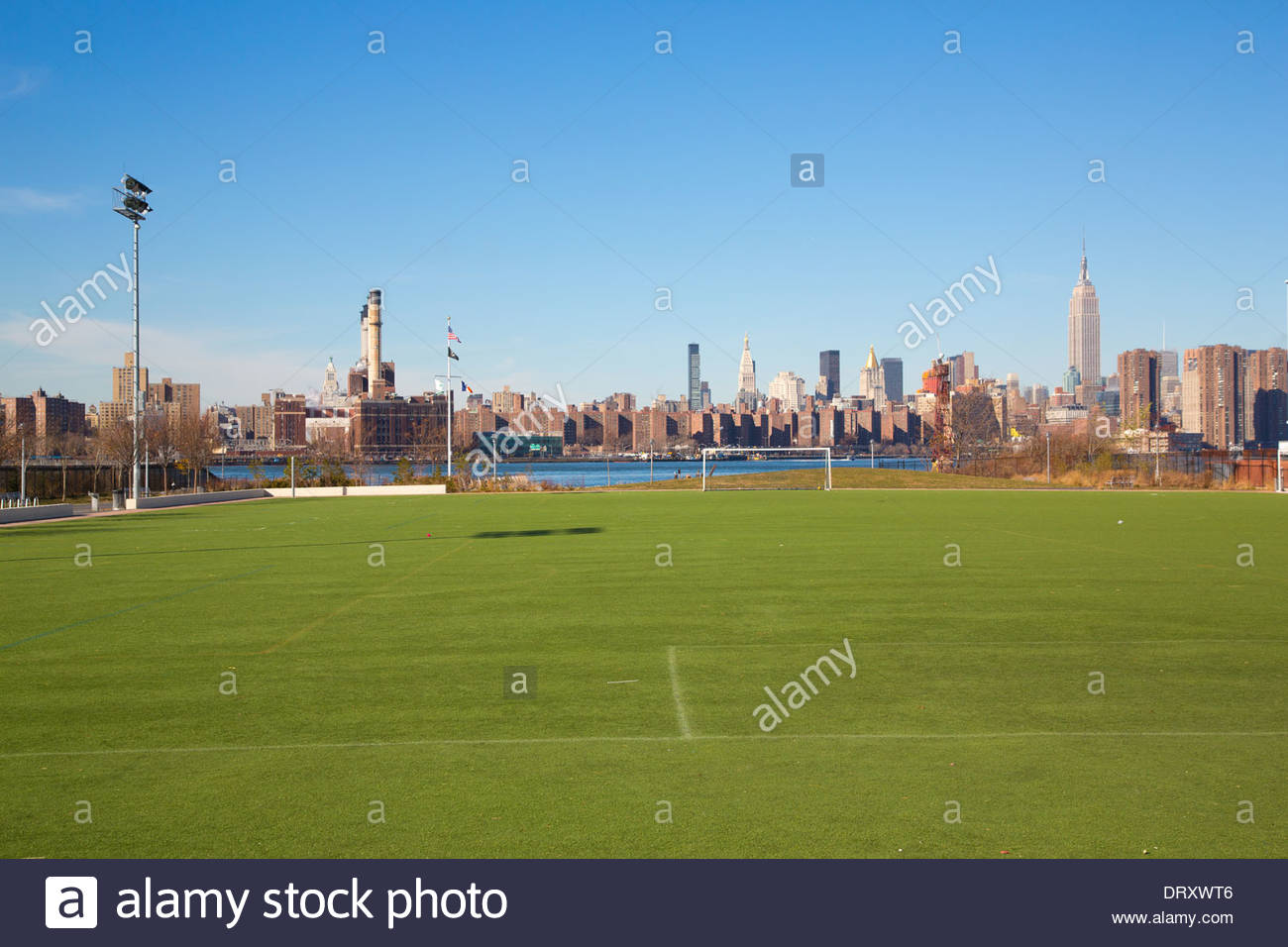 Cathedral Church of St John the Divine New York City, View of the New York City skyline from Bushwick Inlet Park in ...