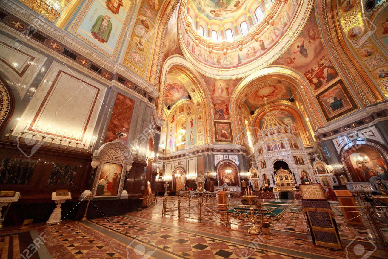 Cathedral of Christ Our Savior Moscow, Big Hall Near Altar Inside Cathedral Of Christ The Saviour In ...