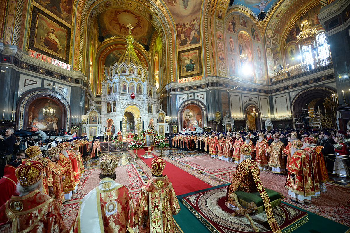 Cathedral of Christ Our Savior Moscow, Primate of Russian Church celebrates Paschal Great Vespers at ...